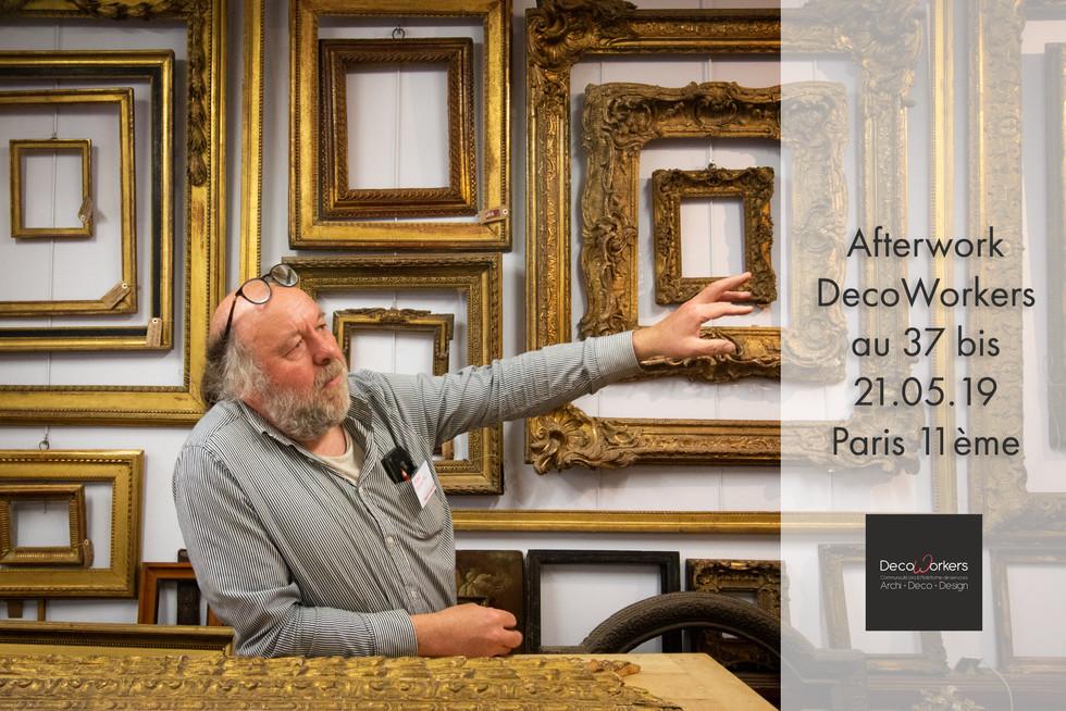Afterwork DecoWorkers au 37 bis à Paris avec la visite des ateliers d'art et d'artisanat. Visite de l'atelier d'un ornemaniste doreur.