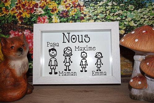 Cadre Bois Blanc, Beige, ou Noir Famille: papa, maman, 2 enfants