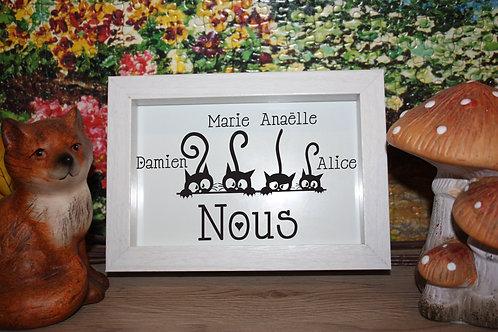 Cadre Bois Blanc, Beige, ou Noir  Famille Chats