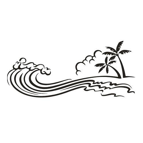 Sticker Vagues Palmiers