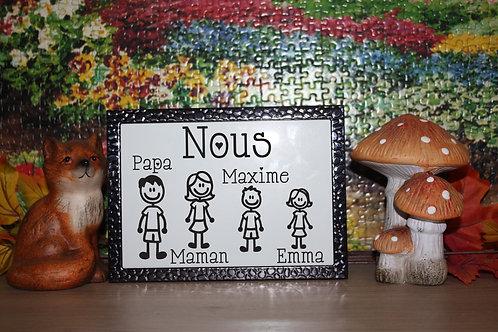 Cadre Métal Noir/doré/Argenté Famille: papa, maman, 2 enfants