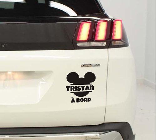 Sticker Bébé à Bord - Oreilles de Mickey - Prénom au choix