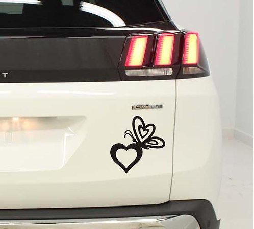 2 Stickers  Papillon Coeur