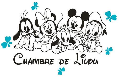 Grand Sticker Chambre - Thème Bébé Mickey et ses amis 70cm