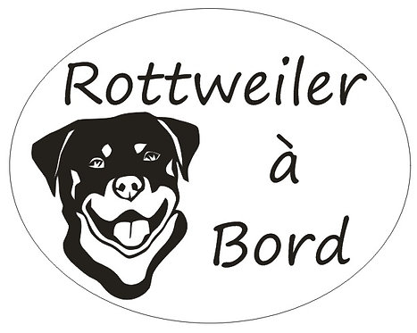 Sticker Rottweiler  à Bord - Personnalisation possible