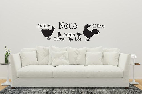 Sticker Salon Famille Poule Coq