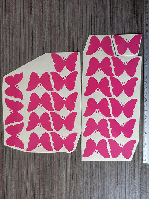 Lot 24 Stickers Papillons Roses