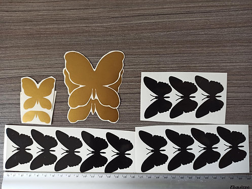 Lot 12 Stickers Papillons Noirs & 4 Papillons Or