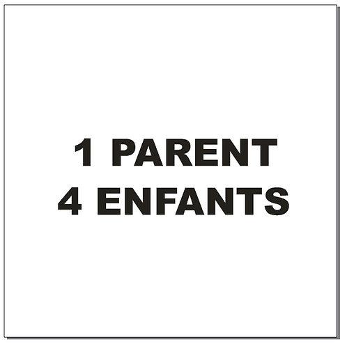 Sticker BAL Famille hiboux: 1 parent, 4 enfants