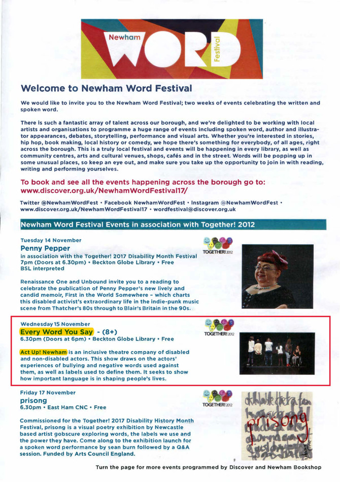 Every Word You Say - Newham Word Festival