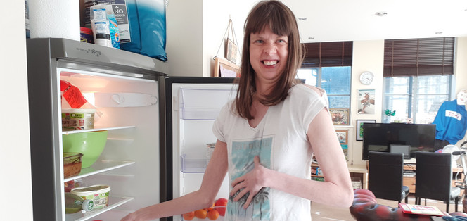 Sterre with her Fridge