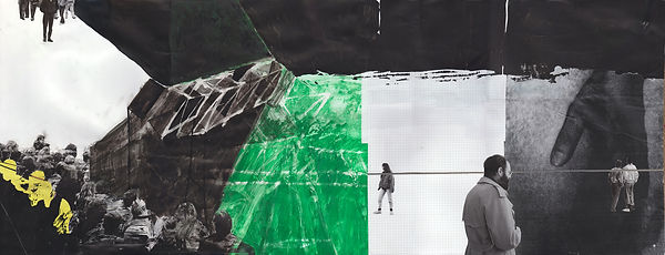 Demonstration Steel Structure Hand   .Collage, acrylic paint and ink .on paper .120 x 46 cm