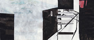 """""""Backyard Construction Feedback""""   .Collage, acrylic paint and ink .on paper .118 x 51 cm"""