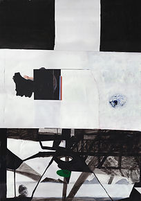 """""""Light Bulb Diver Structure""""  .Collage, acrylic paint and ink .on paper and MDF board .142 x 77 cm"""