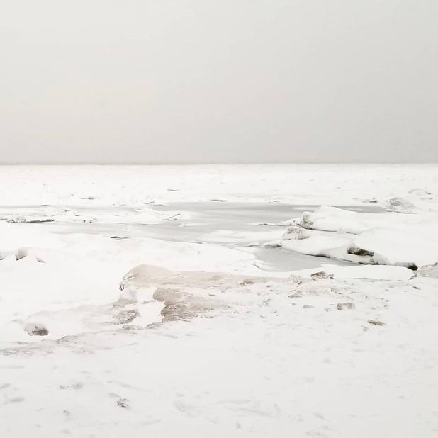 Snow walk on the beach