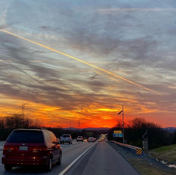 Sometimes you just have to pull off the road for a gorgeous sunset.