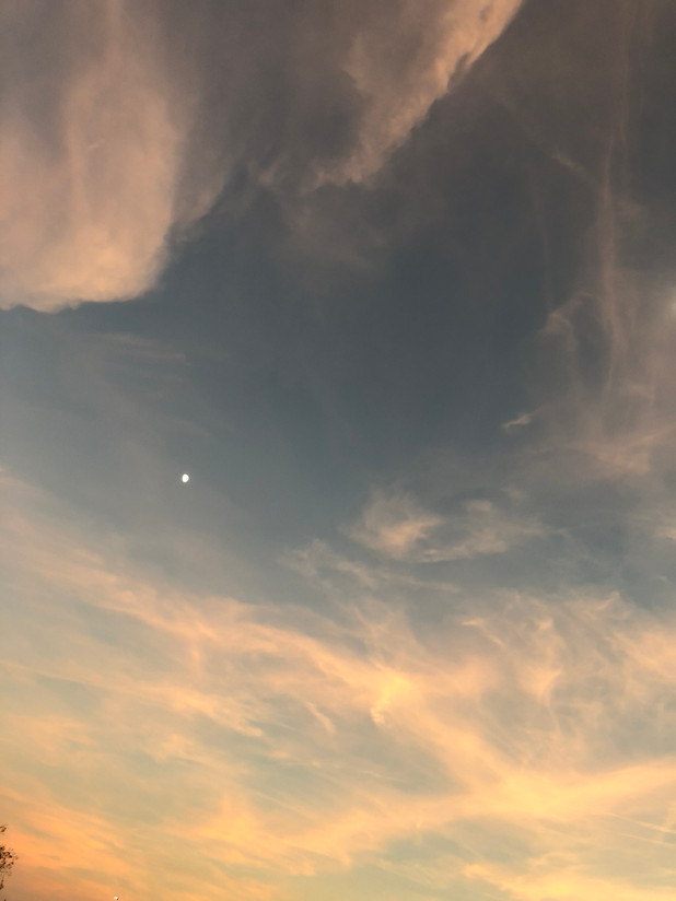 Moon in Sunset Clouds