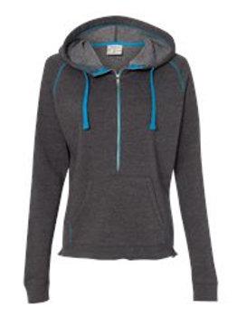Women's J. America 1/2 Zip Hooded Sweatshirt