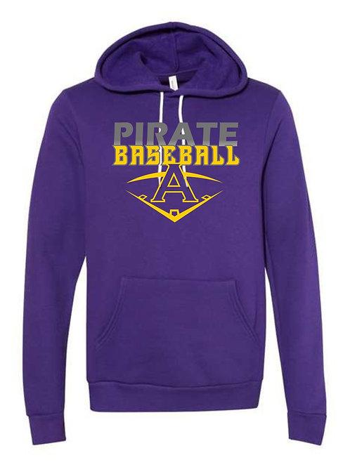 Pirate Baseball Purple Hooded Sweatshirt