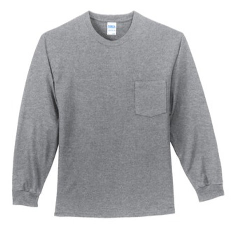 Pocketed Long Sleeve Port and Company Tshirt