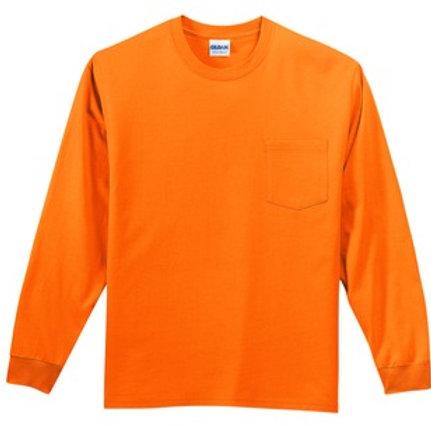 Safety Orange Pocketed Long Sleeve Gildan Tshirt