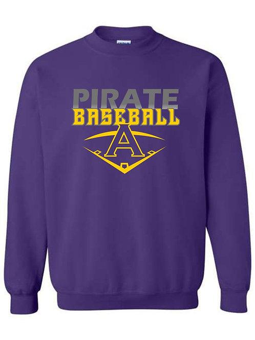 Pirate Baseball Purple Crewneck Sweatshirt