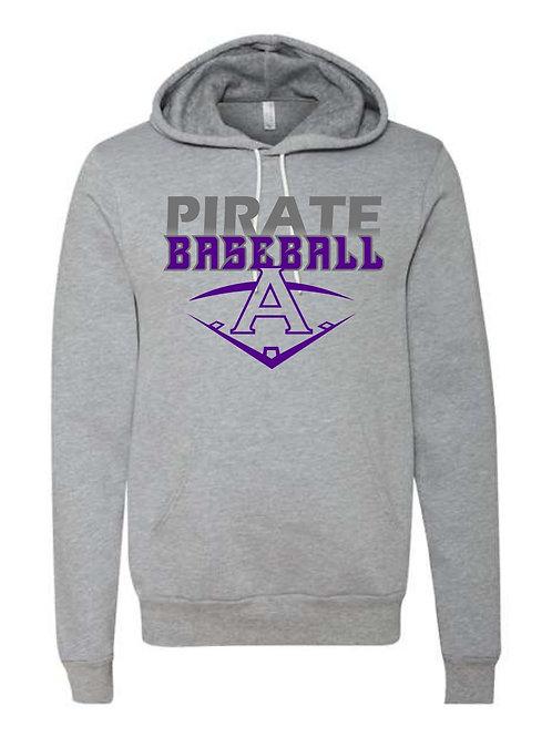 Pirate Baseball Grey Hooded Sweatshirt