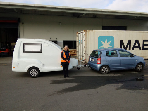 Fiona collecting Go-Pod in New Zealand.j
