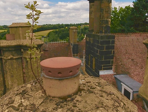 Chimney top roof inspection revealing plant life growing. Using a DJI Phantom 4 Drone, UAV, RPAS, Getting closer to hard to access areas.