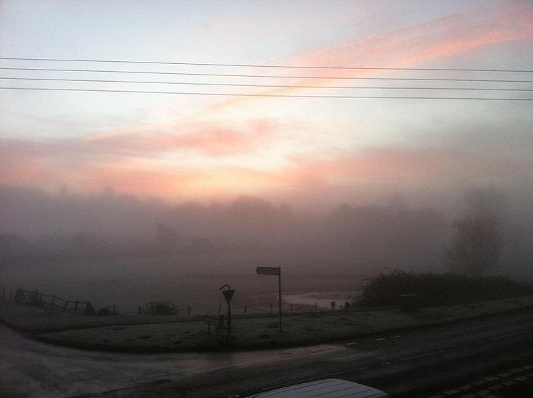 Pink sunrise over the pond field, Ingoldisthorpe