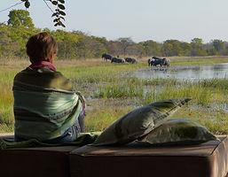 Herrlicher Sonnenuntergang auf der Safari Sambia.