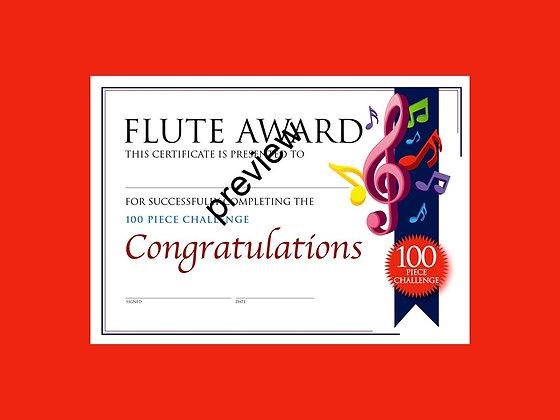 Flute Certificate 100 Piece Challenge (CLASS Licence Digital Download)