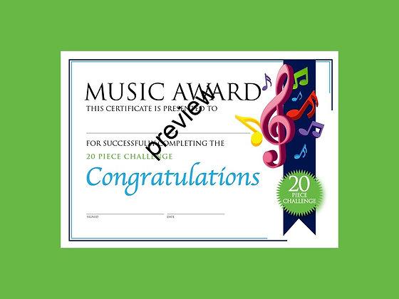 Music Certificate 20 Piece Challenge (CLASS Licence Digital Download)
