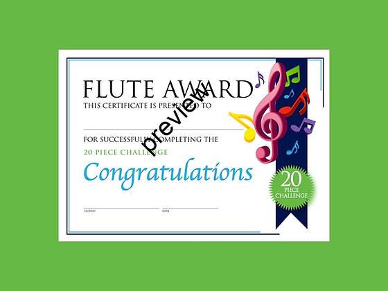 Flute Certificate 20 Piece Challenge (CLASS Licence Digital Download)