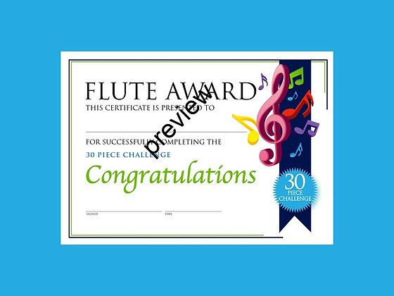 Flute Certificate 30 Piece Challenge (CLASS Licence Digital Download)
