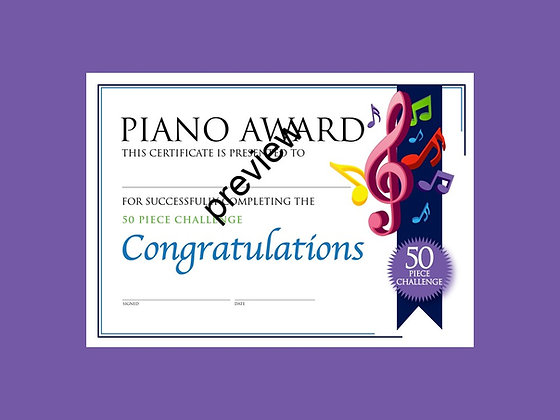 Piano Certificate 50 Piece Challenge (CLASS Licence Digital Download)