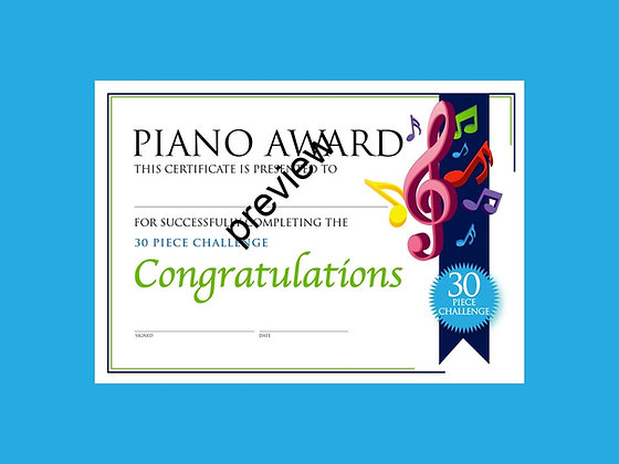 Piano Certificate 30 Piece Challenge (CLASS Licence Digital Download)
