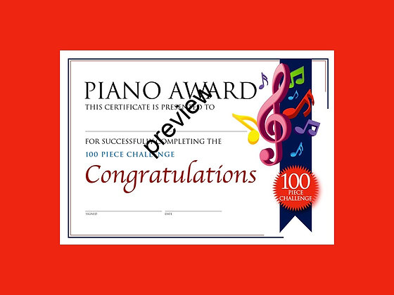 Piano Certificate 100 Piece Challenge (CLASS Licence Digital Download)