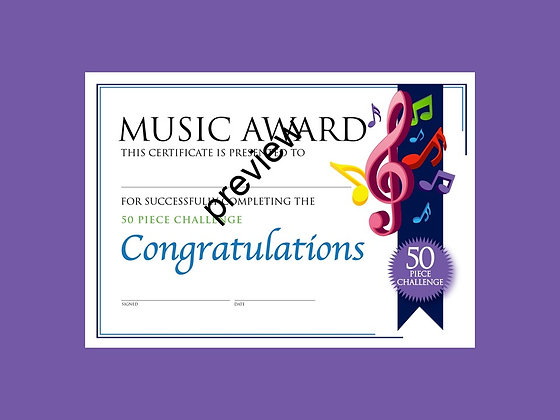 Music Certificate 50 Piece Challenge (CLASS Licence Digital Download)