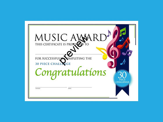Music Certificate 30 Piece Challenge (CLASS Licence Digital Download)