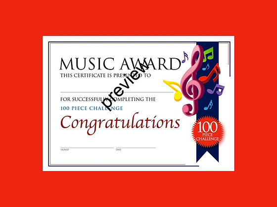 Music Certificate 100 Piece Challenge (CLASS Licence Digital Download)
