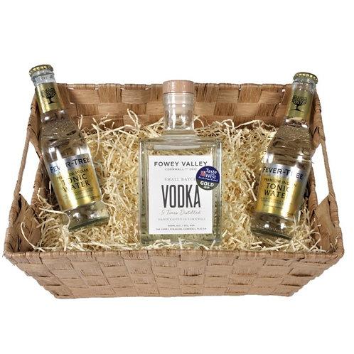 Fowey Valley Vodka & Fevertree Tonics in a woven basket