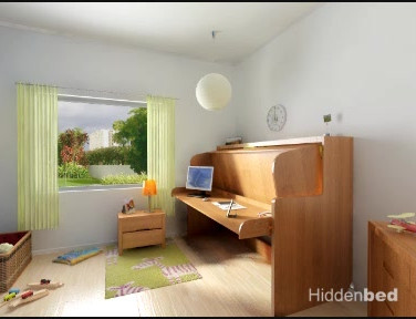 Kids Room Hidden Study Desk Bed