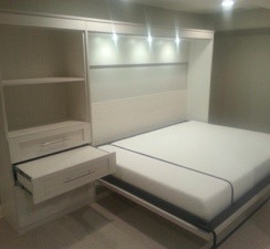 King Size Murphy Bed with Side Storage