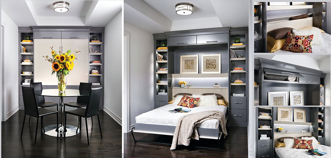 murphy folding wall bed in apartment in palm jumeirah dubai. A dining room that becomes a guest bedroom. Multi functional spaces. Funriture package for property investors.