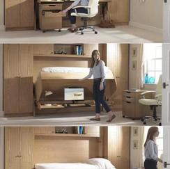 Children's Bedroom Folding Hidden Study Desk Bed