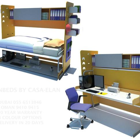 Kids Room Hidden Bed + Desk