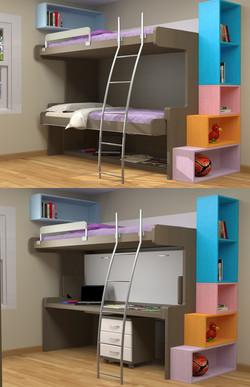 BOYS BUNK STUDY DESK FODLING BED