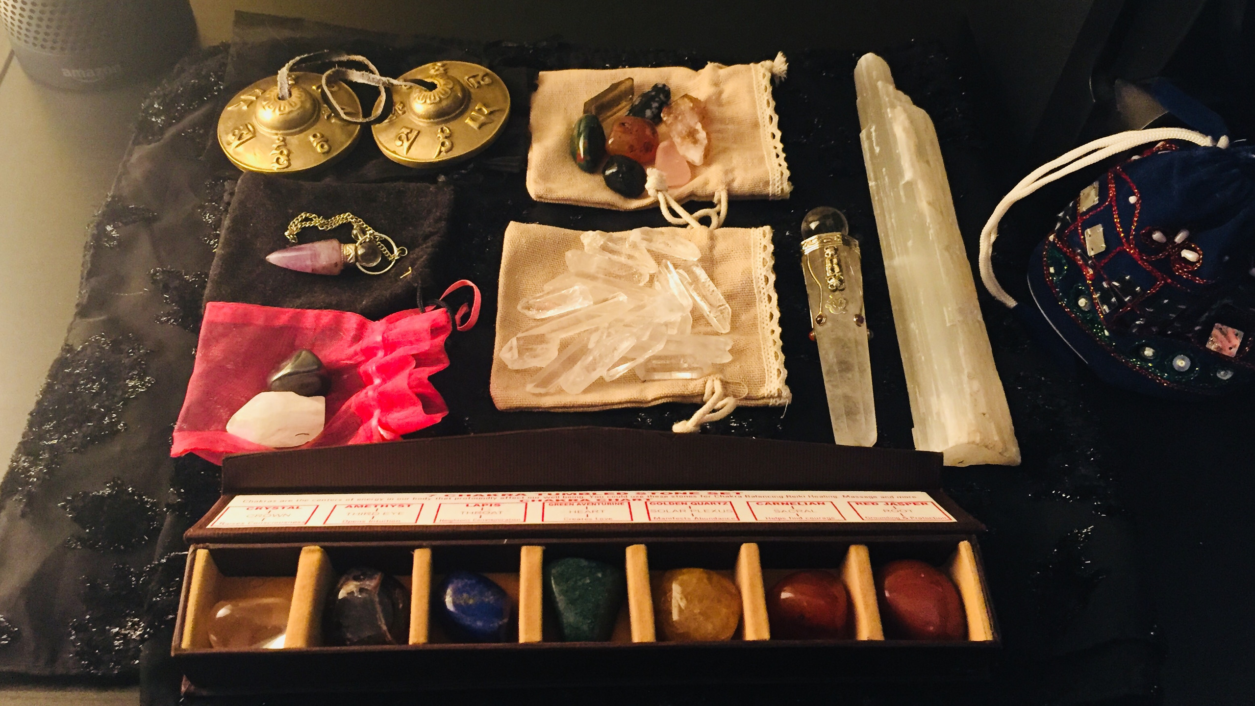 Some of my tools for a Crystal Healing Session.