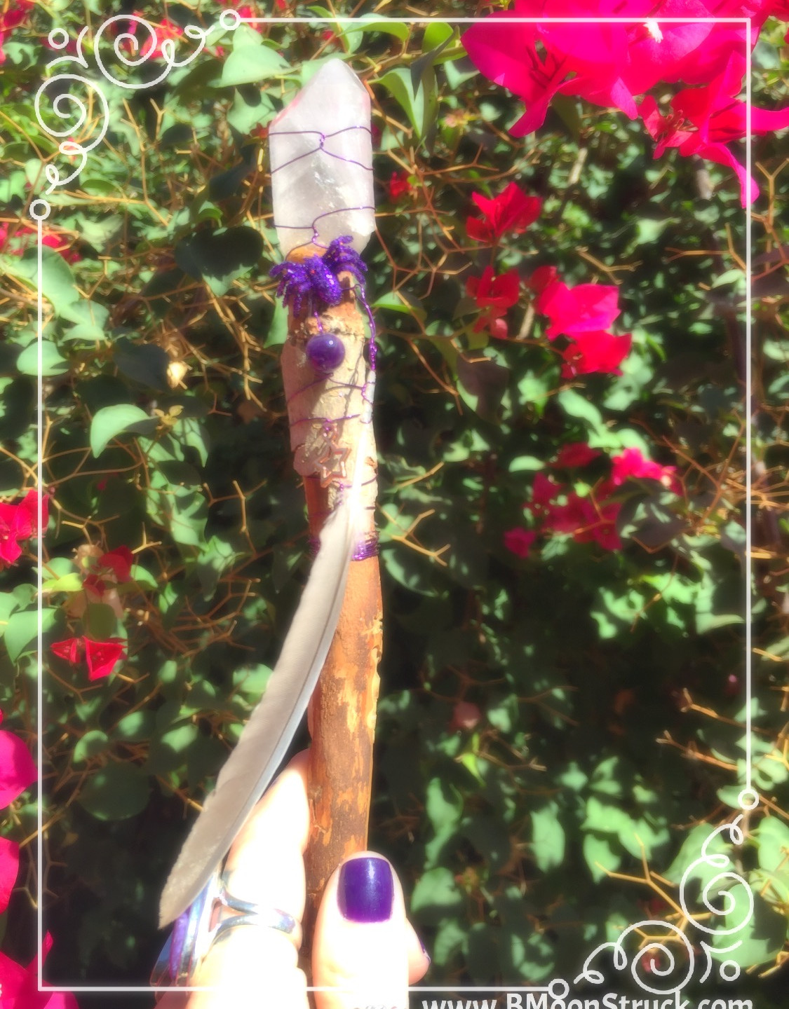 This is my personal Wand.  Feather from my Guides, an addition of Amethyst and a Spider for protection, resourcefulness, growth & beauty.